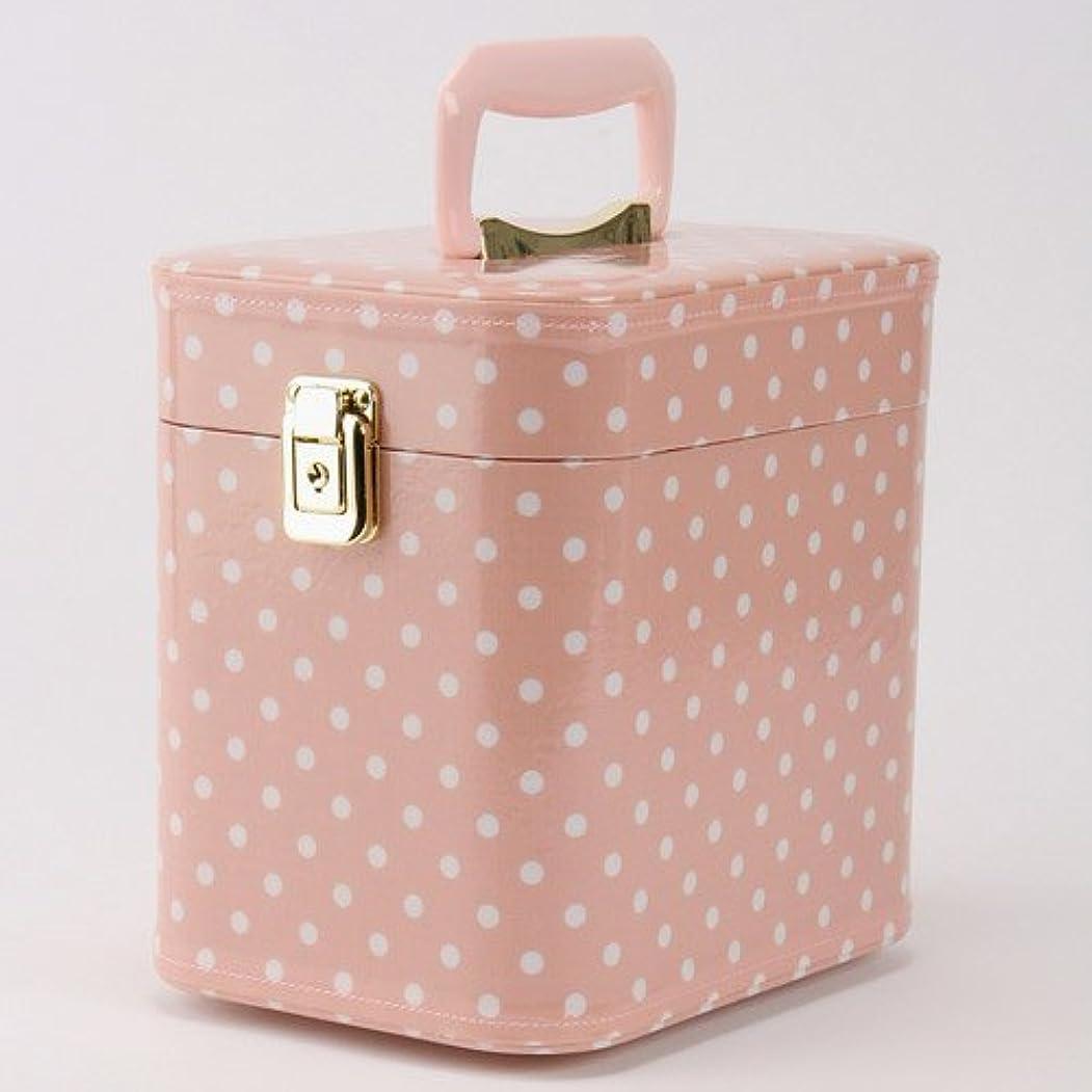 気付くバンド流日本製 メイクボックス 水玉(ドット) ピンク 7寸(鍵付き/コスメボックス)