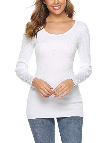 iClosam Camisetas De Manga Larga para Mujer Color SóLido Elegante BotóN Camisa Tops Sudadera