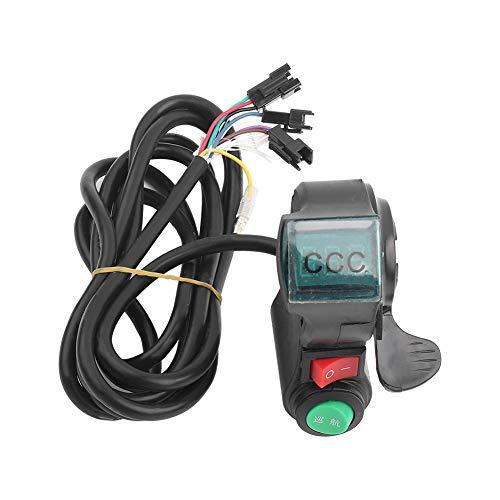 RiToEasysports Empuñadura del Acelerador de Bicicleta eléctrica con Pulgar de Crucero y Interruptor con Pantalla de cantidad eléctrica para Bicicleta eléctrica de 12V a 99V