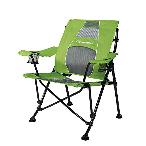 STRONGBACK Guru Folding Camp Chair with Lumbar Support, Lime Green/Grey, 2.0 (NEW for 2020)