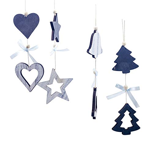 Bigsweety Wooden Beads Bows Christmas Hanging Creative Closet Small Pendant Ornaments Chic Xmas Tree Decoration