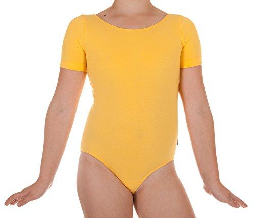 JANDAZ 96% Baumwolle Mädchen Gymnastikanzug Ballett Gym Dancing 8 Jahre Gelbe kurze Ärmel