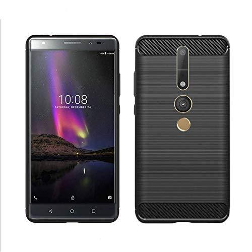 König Design Handy-Hülle kompatibel mit Lenovo Phab2 Pro Silikon Hülle Hülle Sturzsichere Back-Cover Handyhülle - Carbon - Schwarz