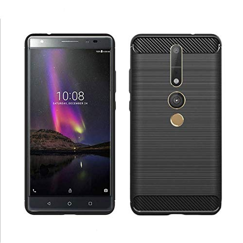 König Design Handy-Hülle kompatibel mit Lenovo Phab2 Pro Silikon Case Hülle Sturzsichere Back-Cover Handyhülle - Carbon - Schwarz