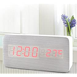 FirstDecor New White Simple Wooden Digital LED Alarm Clock with Thermometer Rectangle Timer Voice and Touch Activated USB/AAA Batteries Powered