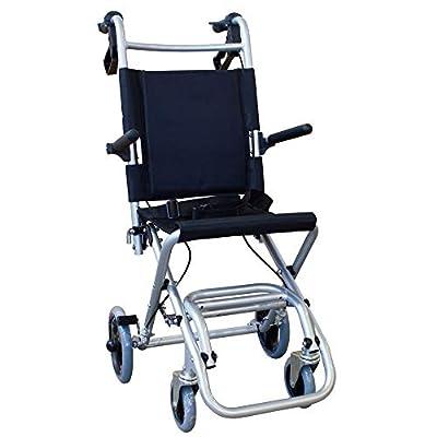 Silla de ruedas de tránsito para ancianos y minusválidos, plegable, aluminio, reposapiés y reposabrazos abatibles, asiento, ultraligera, frenos en manetas, negro