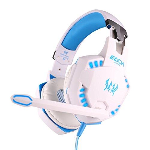 KOTION EACH G2100 Vibrazioni professionale cuffia Gamer Headset con microfono stereo Bass LED per PC Gamer (Bianco+Blu)