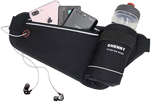 OHENNY Running Belt with Water Bottle Holder Adjustable Hydration Waist Pack No Bounce for Men product image