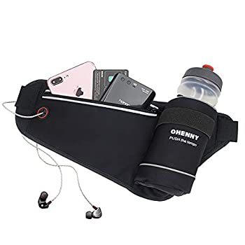OHENNY Running Belt with Water Bottle Holder Adjustable Hydration Waist Pack No Bounce for Men Women Waist Pouch Fanny Bag for Runners Fitness Training Jogging Hiking Travel