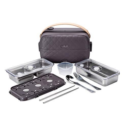 Yum Asia Bonsai Bento Cuociriso elettrico e vaporiera (0,2L, 1 tazza), alimentazione 220-240V UK/EU (Moon Grey)