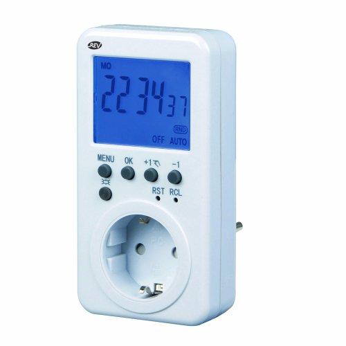 REV ZEITSCHALTUHR STECKDOSE Digital ǀ Schaltuhr mit Countdown-/ Zufallsfunktion ǀ mit Kindersicherung und Display extra-groß ǀ für den Innenbereich ǀ Farbe: weiß