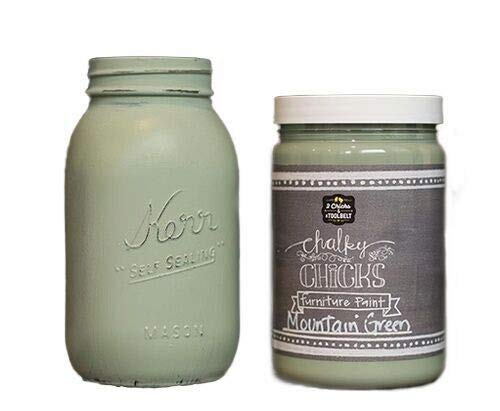 Chalky Chicks | Chalk Finish Paint | Perfect for Furniture, Cabinets, Home Decor, & DIY Craft Projects | 32 oz | Mountain Green