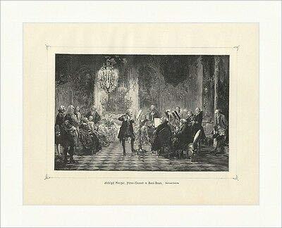 Kunstdruck Flöten Concert in Sans Souci Adolph Menzel Schloß Geige Saal Holzstich E 16574