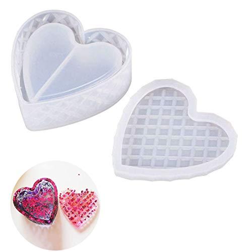 Finelnno Heart Box Resin Mallen, Siliconen Box Mallen, Sieradendoos Mallen met Deksel, Opbergdoos Schimmel Epoxy Gietmallen voor Snuisterijdoos, Bloempot