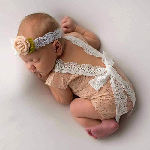 Neugeborenen Baby Spitze Backless Baby Mädchen Jungen Strampler Outfit Kleidung Kostüm Baby Fotografie Requisiten Props,Kamel
