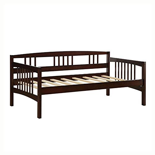 HomyDelight Twin size Day Bed in Espresso Wood Finish - Trundle Not Included