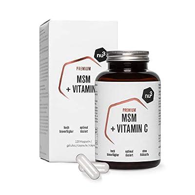 nu3 MSM Premium – 1000 mg of MSM + 80 mg of Vitamin C per Tablet – 120 Vegan Capsules – Free of Magnesium Stearate – Natural Anti-inflammatory - Pure Organic Sulfur - for Skin, Hair, Joints & Nails