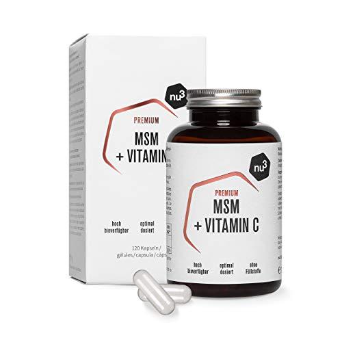 nu3 Premium MSM - 120 Capsule - 1000 mg di Metilsulfonilmetano per Dose Giornaliera - Vegano con Vitamina C Alta Biodisponibilità - Capsule di Cellulosa Prive di Gelatina - Senza Stearato di Magnesio