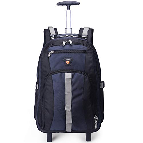 AOKING 22 Inch Water Resistant Travel School Business Rolling Wheeled Backpack with Laptop Compartment Bag, Carry On Luggage with Spinner Wheels (20 inch, Dark Blue)