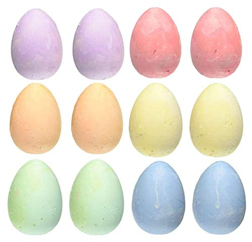Sidewalk Chalk Set 12 Pieces 6 Colors Eggs-Shaped Jumbo Chalk City, Washable Art Play For Kid and Adult, Paint on School Classroom or Office Chalkboard,Playground, Outdoor, Gift for Birthday Party