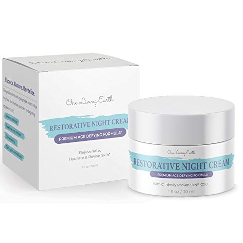 41ROnrXeBUL - One Living Earth Restorative Night Cream for Face - Clinically Proven SYN-COLL Collagen-Stimulating Peptide - Anti Aging Formula - Skin Renewing Night Cream - Wrinkle Cream for Women and Men - 1 fl oz