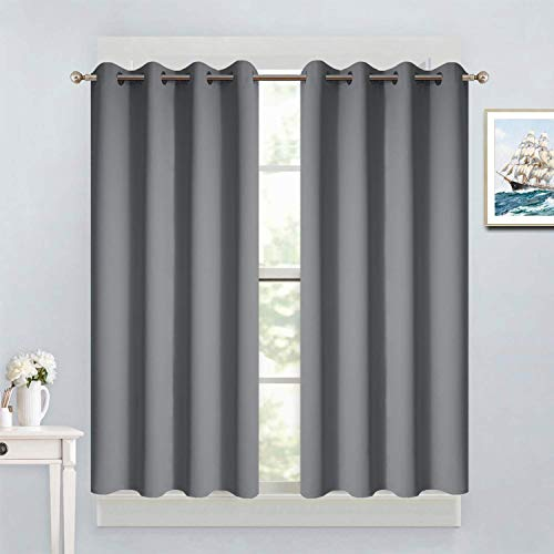 Yakamok Kitchen Blackout Window Curtains - Thermal Insulated Home Decor Blackout Grommet Drapes for Short Window(52W by 45L, Grey, 2 Panels)