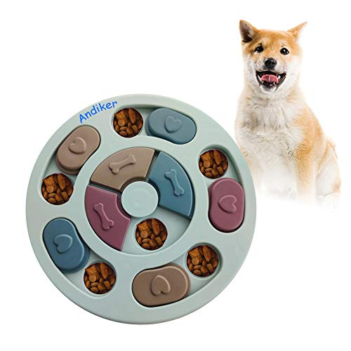 Andiker Round Dog Puzzle Feeder Toy, Durable Dog Interactive Toy, Dog Brain Games, Improving IQ, 3 Colors (Blue)