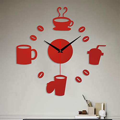 Rahmenlose Wanduhr zum Selbermachen, 3D-Spiegelfläche, Aufkleber, Heimdekoration, 80 x 80 cm, rot, 38