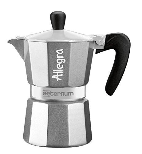 Aeternum Allegra Caffettiera Espresso per 6 Tazze, Alluminio, Grigio, 17 x 10 x 21 cm