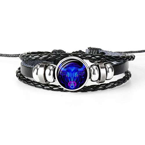 12 Constellation Zodiac Sign Black Braided Leather Bracelet Cancer Leo Virgo Libra Woven Glass Dome Jewelry Punk Men Bracelet,Taurus