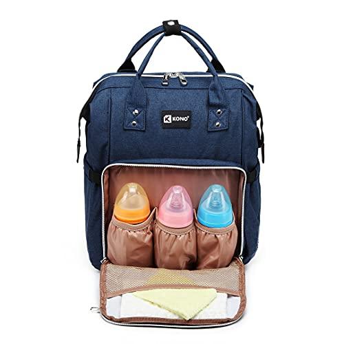 Kono - Mochila de pañales para bebé, gran capacidad, bolsillos aislados, con puerto de carga USB y 2 correas para cochecito de 16,8 L (azul marino)