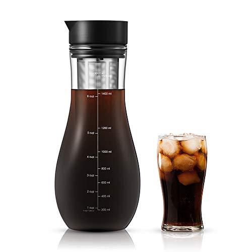 soulhand Kaffeebereiter für Cold Brew,Kaltbrüh-Kaffeemaschine, Eiskaffeemaschine - 1,5L aus Borosilikatglas geeignet für heiße und kalte Teebrühungen Kaltbrühsystem für Home Office Eiskaffee und Tee