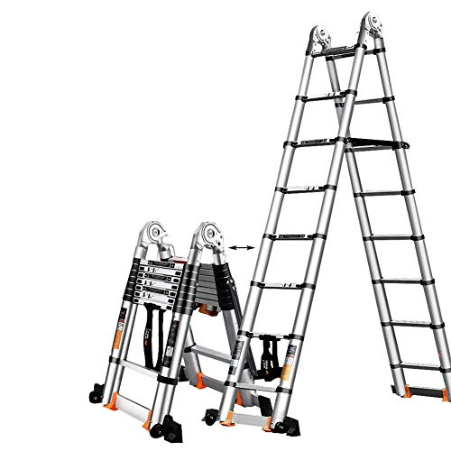 Xinmier Telescopic Extension Tall Ladder Extend Portable Ladder Foldable A-Frame Ladder with Support Bar Multi Purpose Aluminum Engineering Ladder (Size : 5.8m/19ft(2.9m+2.9m))