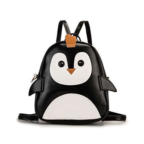 KL928 Kinderrucksack Mini Rucksäcke Pinguin Cartoon kinder Rucksack baby Rücksack kleiner Umhängetasche PU Leder für Jungen und Mädchen (KL095-Penguin)