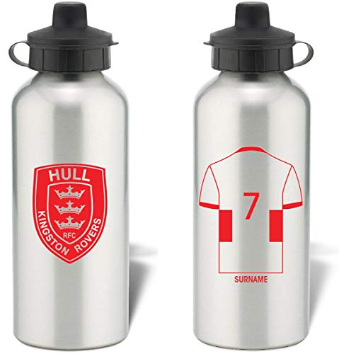 Hull Kingston Rovers Sport-Trinkflasche aus Aluminium, personalisierbar, silberfarben