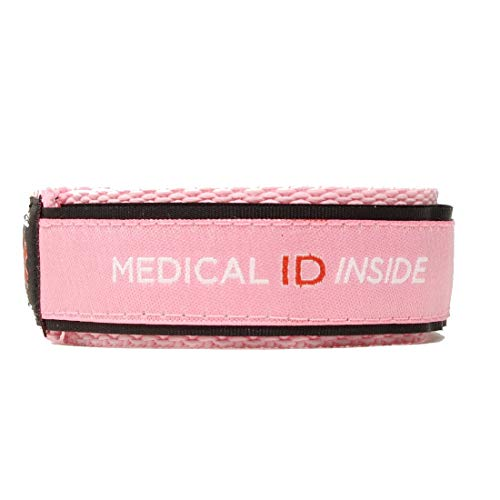 Medical ID Alert Bracelet, Emergency Medical ID Inside, Fabric Wristband, Phone Access, Non GPS, Alerts Contacts, Mens Ladys, Any Condition Dementia Epilepsy Disease (Medium (up to 7' Wrist), Pink)