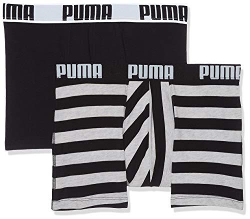 PUMA Herren Optical Stripe Boxer 2p Badehose, (Grey/Black 235), S (2er Pack)