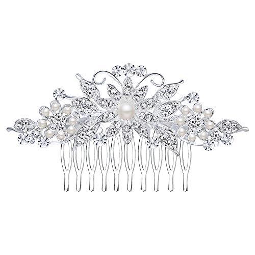 EVER FAITH Damen Haarkamm Österreichischer Kristall Simulierte Perle Hochzeit Blume Blatt Braut Haar Schmuck Klar Silber-Ton (Stil1)