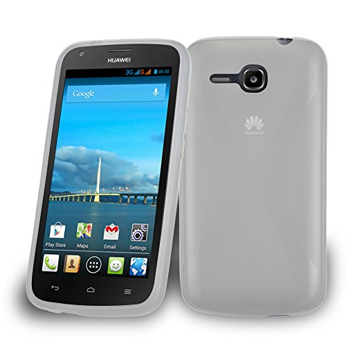 Cadorabo Hülle für Huawei Ascend Y600 Hülle in Halb Transparent Handyhülle aus flexiblem TPU Silikon im X-Line Design Silikonhülle Schutzhülle Soft Back Cover Hülle Bumper Halb-transparent