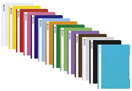 Brunnen Schnellhefter A4 farbig sortiert PP-Folie glasklares Deckblatt (10 Farben)