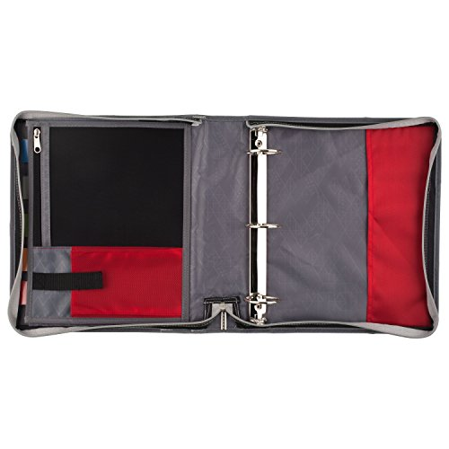 Five Star Zipper Binder, 2 Inch 3 Ring Binder, Expansion Panel, Durable, Black/Red/Gray (29052BE7) Photo #2