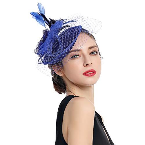 Damen Fascinators Kentucky Derby Haarspange Stirnband Hochzeit Tee Party Hut - Schwarz - Einheitsgröße