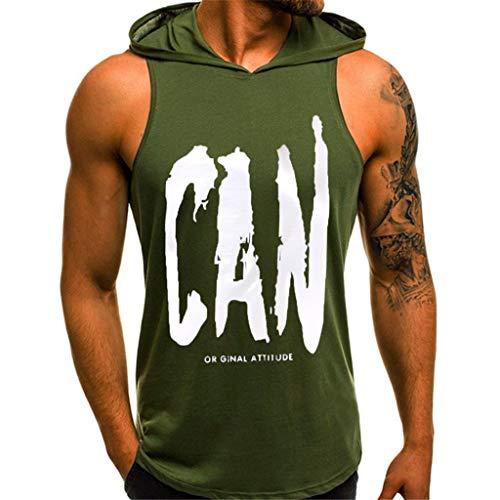 Männer Hoodie Ärmelloser Herren Kapuzenpullover Print T-Shirt mit Kapuze Tank-Top aus Baumwolle Pullover und T-Shirt S-XL Tops CICIYONER