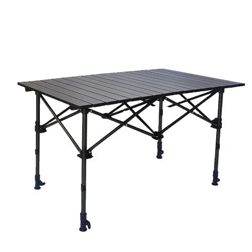 Night Cat Mesa de Camping Plegable de Aluminio para Altura de Ajustable al Aire Libre 50-95cm para Jardín de Pesca de Camping 75kg