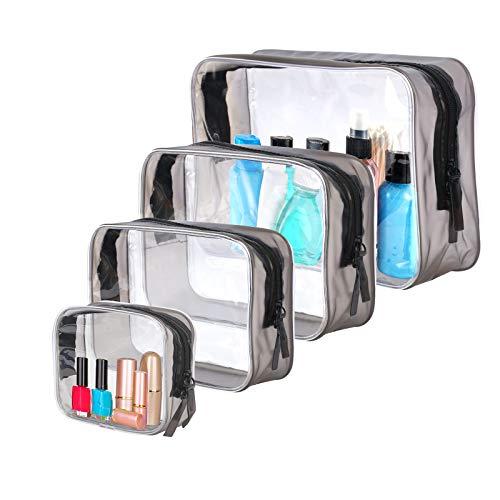 BIGKASI 4 Pcs Transparent Kosmetiktasche PVC wasserdicht Reisetasche Unisex Make Up Tasche Set mit doppeltem Reißverschluss Durchsichtig Toiletry Bag Reisegepäck für Frau Reisen Strand Badezimmer