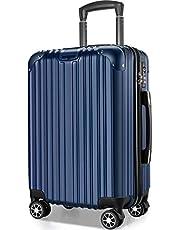 VARNIC スーツケース キャリーバッグ キャリーケース 機内持込 超軽量 大型 静音 ダブルキャスター 耐衝撃 360度回転 TSAローク搭載 ファスナー式 旅行 ビジネス 出張 (M サイズ(65L), ブルー)