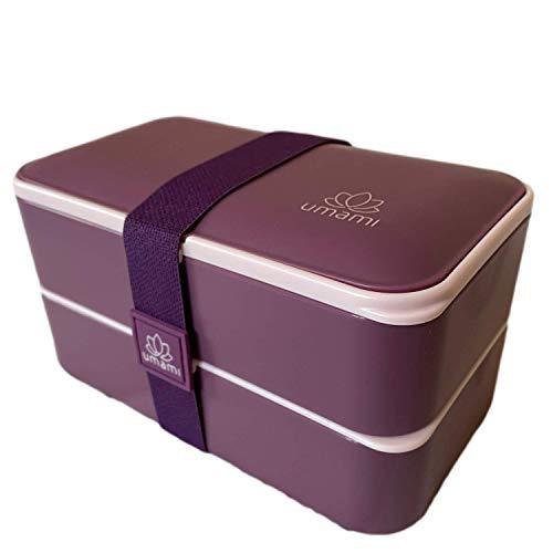 Umami® ⭐ Premium Lunchbox – 1 Soßendose & 3-teiliges Besteck – Japanische Luftdichte Bento Box – Brotdose mit Fächern – Zero Waste – Mikrowellen- & Geschirrspülerfest – BPA-frei 5 (Purple Glam)