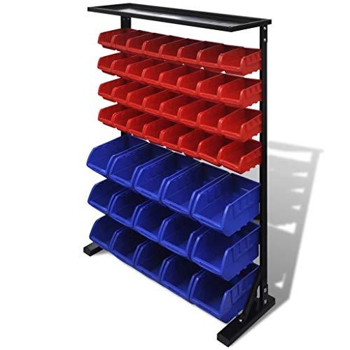 UnfadeMemory Organizador de Herramientas de Taller,Armario Almacenaje Herramientas de Taller,Gavetas de Almacenaje,con 47 Cajas de Almacenaje Extraíbles y Apilables,Plástico Azul y Rojo