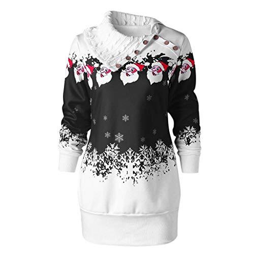 GATIK Damen Weihnachts Pullover Lustiges Weihnachten Santa Claus Print Sweatshirt Größe Skew Kragen Button Weiß Tops Mädchen Süße Lange Bluse(5XL,Schwarz)