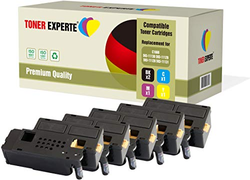 Pack de 5 TONER EXPERTE® Compatibles 593-11130 593-11129 593-11128 593-11131 Cartuchos de Tóner Láser para DELL C1660, C1660W, C1660CN, C1660CNW ⭐